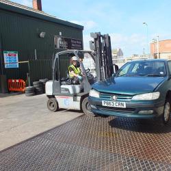 Foulds Forklift Moving Car