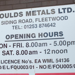 Foulds Opening Times Sign